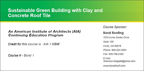Sustainable Green Building with Clay and Concrete Roof Tile
